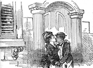 The first healthy interracial kiss in American illustration?